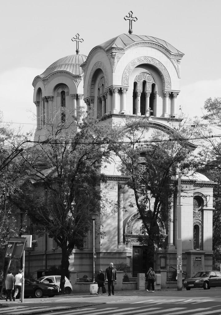 Храм Св. Александра Невског у Београду (поглед са северо-западне стране, из улице Цара Душана)